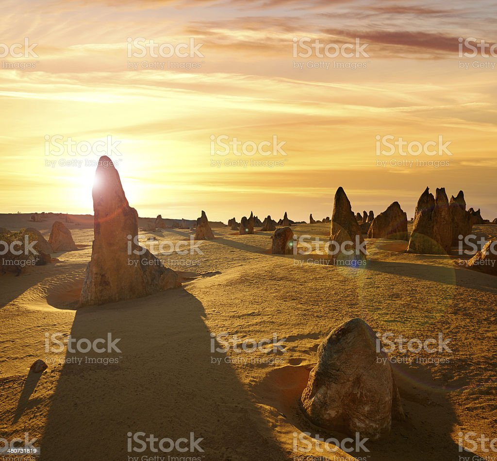 The Pinnacles Sunset Composite stock photo