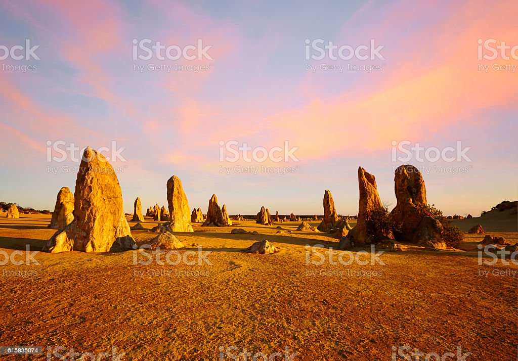 The Pinnacles Western Australia Sunset Composite stock photo