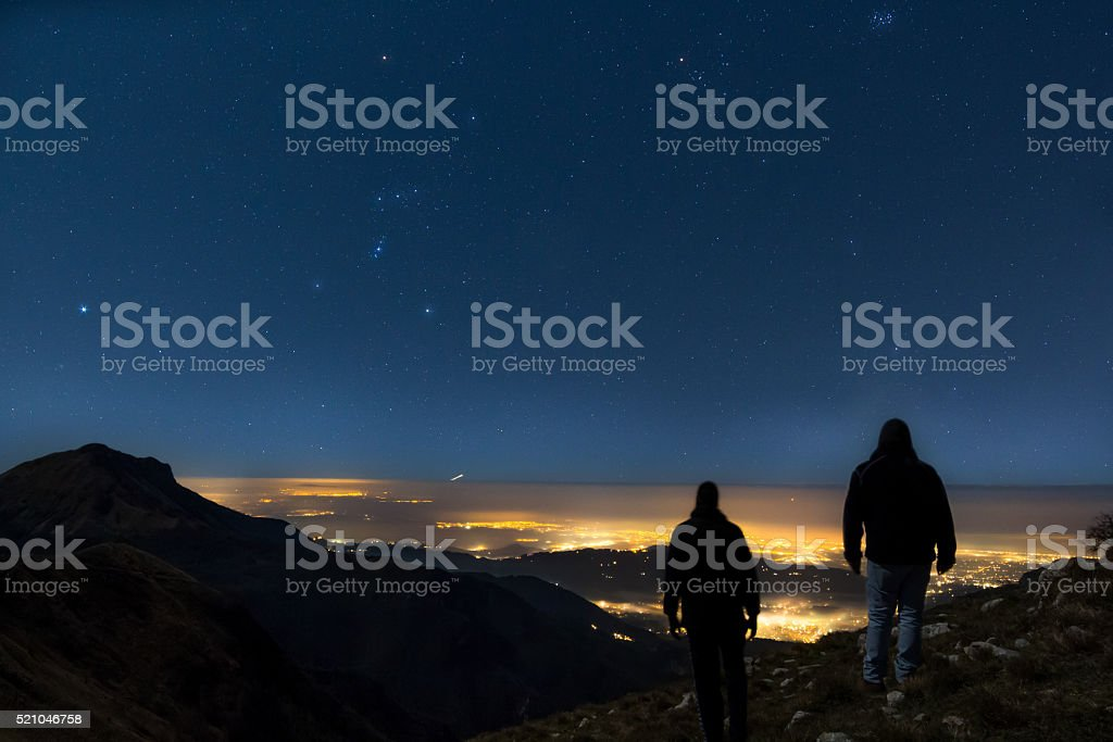 The pioneers, two men version stock photo