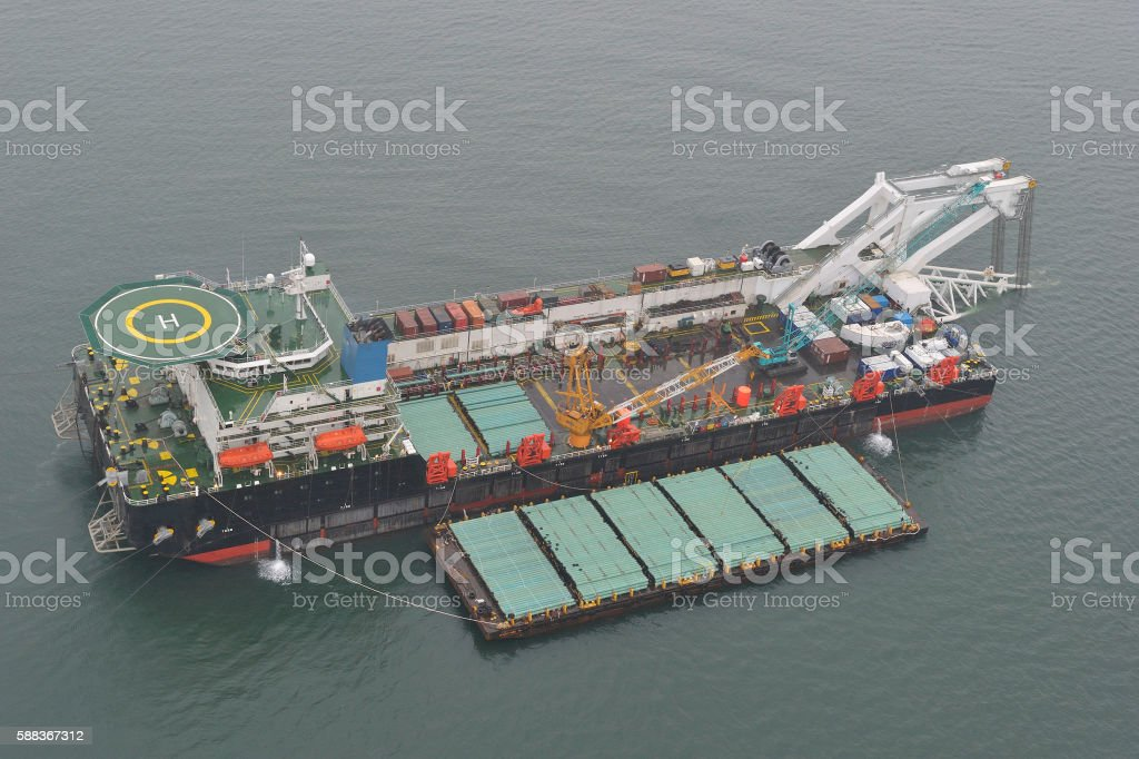 The pipelaying barge stock photo