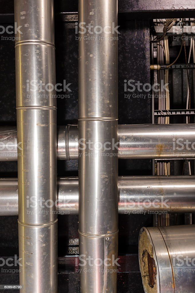 the pipes in the boiler room stock photo
