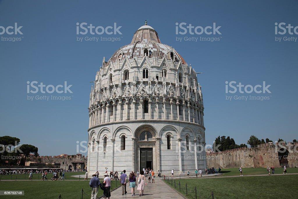 The Pisa Baptistery in Pisa, Italy stock photo