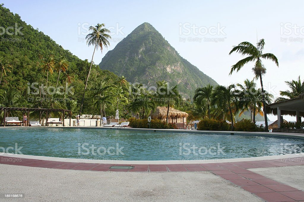 The Pitons in St Lucia. stock photo