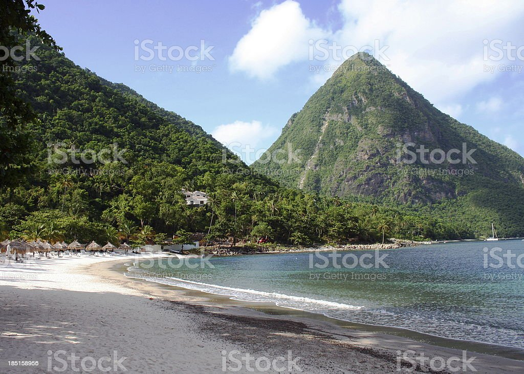 The Pitons in St Lucia. royalty-free stock photo