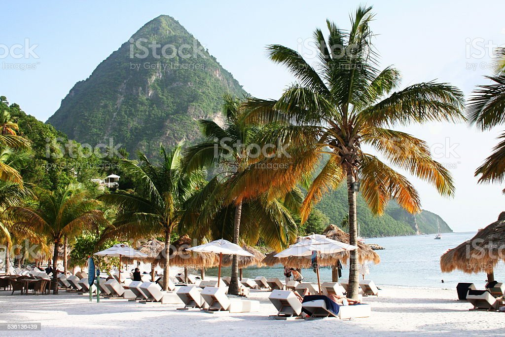 The Pitons in St Lucia stock photo