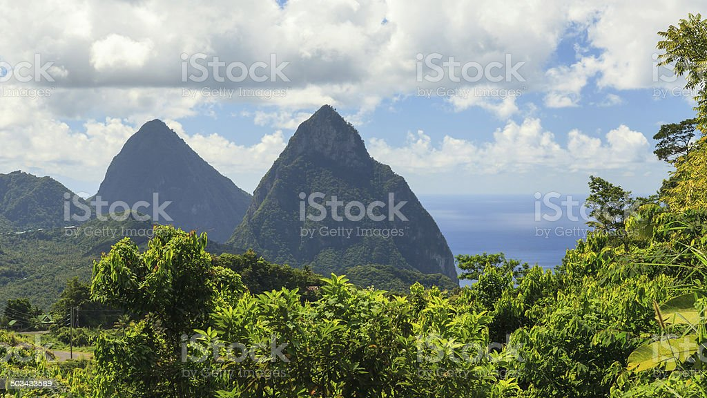 The Pitons, St Lucia stock photo