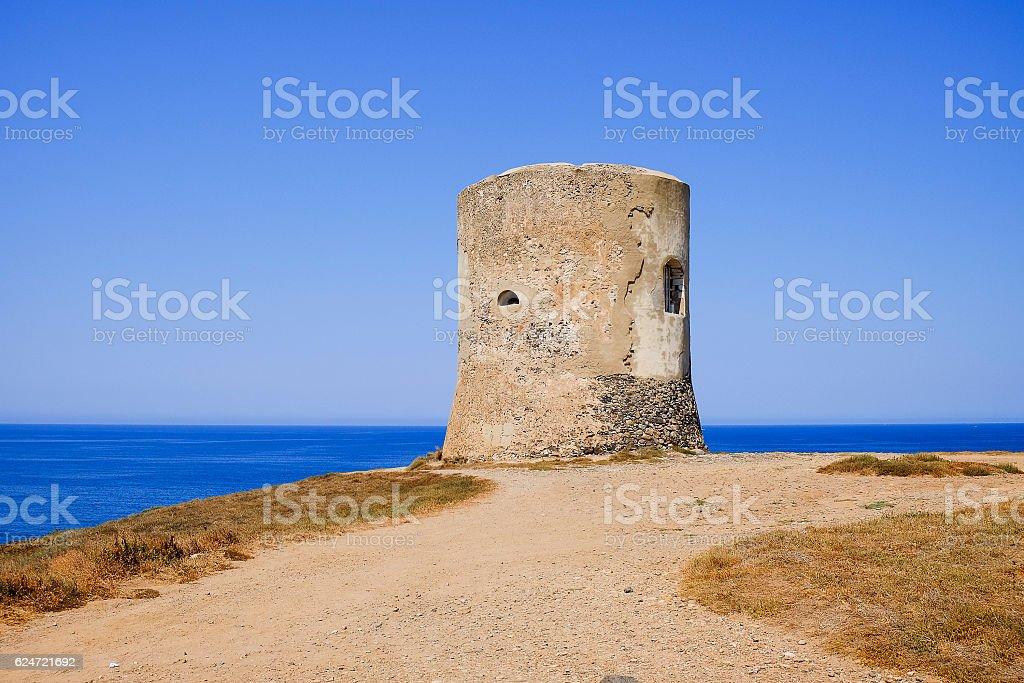 The Pittinuri tower in Oristanno Sardinia, Italy. stock photo