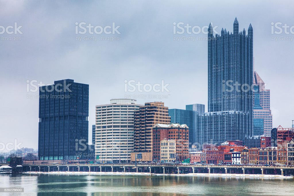 The Pittsburgh skyline in winter stock photo