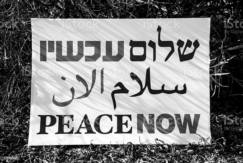 Peace Now sign in Hebrew, Arabic, and English stock photo