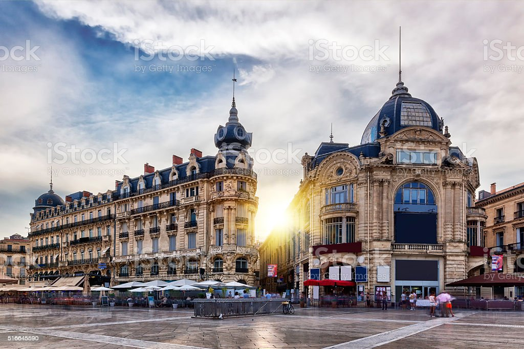 The place de la comédie in Montpellier with sun stock photo