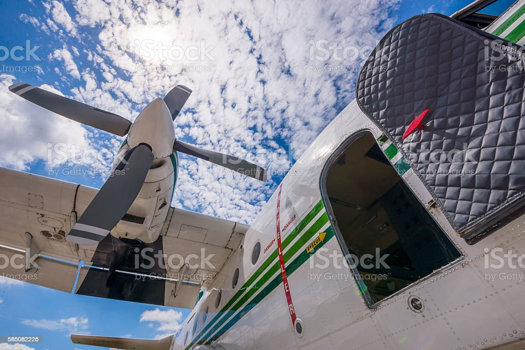 The plane made artificial rain stock photo