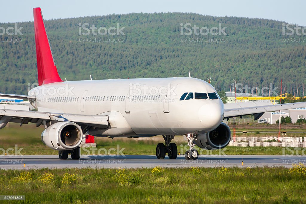 The plane turn around on the runway royalty-free stock photo