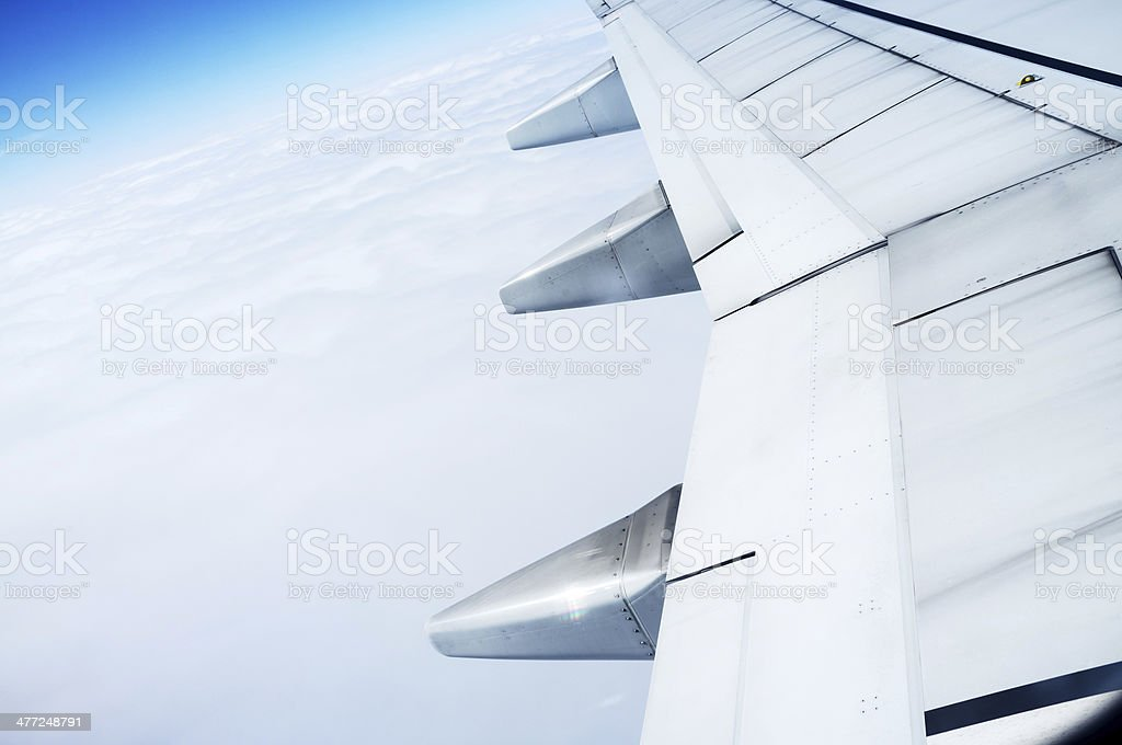 The plane's wings stock photo