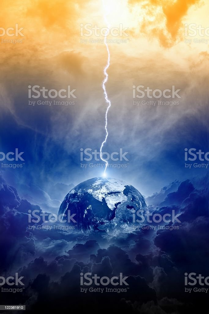 The planet earth avoiding danger royalty-free stock photo