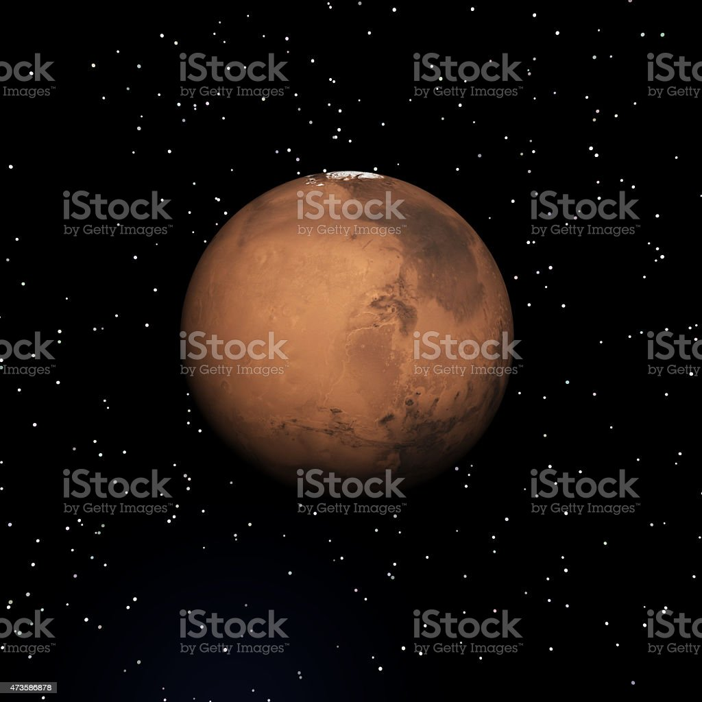 The planet Mars set against a star field stock photo