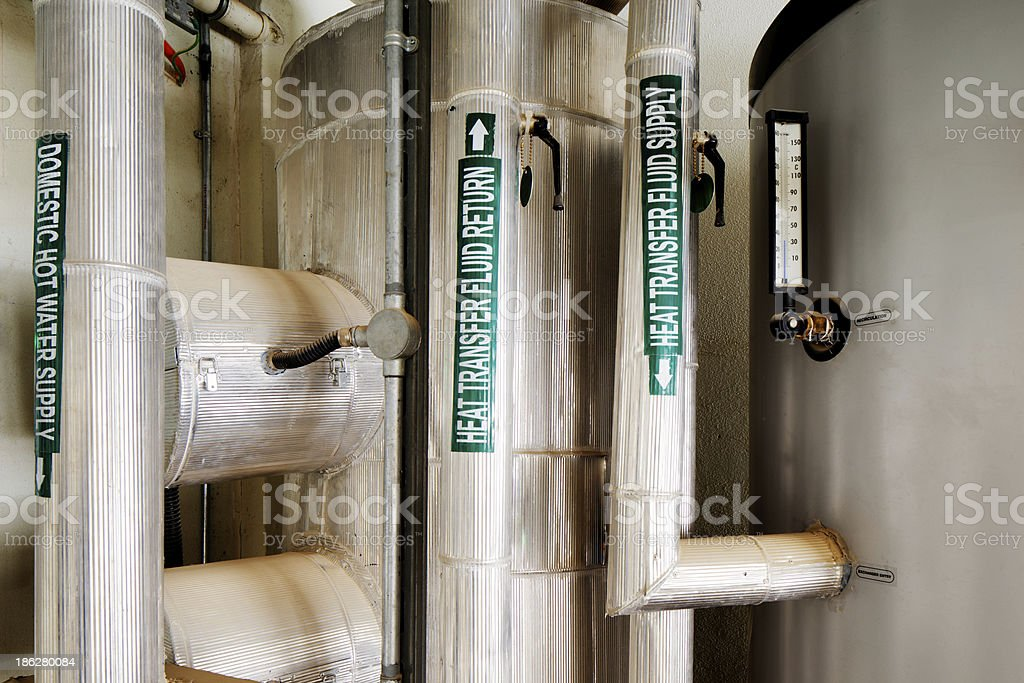 The plant room pipes royalty-free stock photo