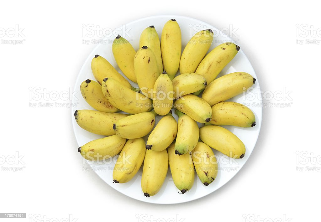 The plate delicious little bananas isolated on white royalty-free stock photo