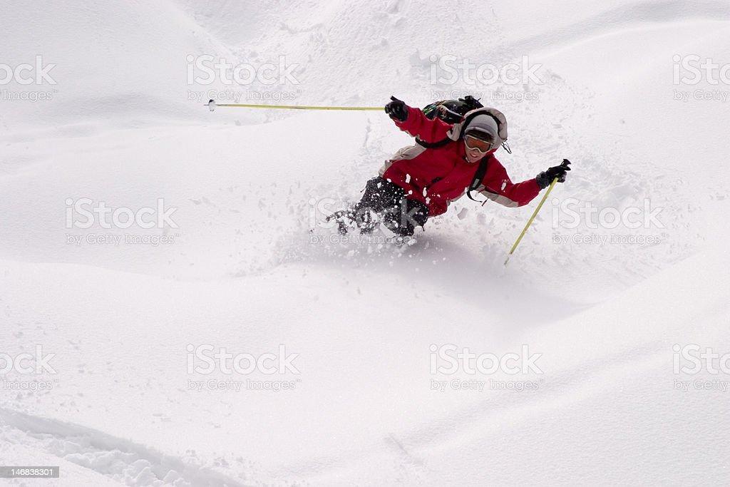 The pleasure of skiing royalty-free stock photo