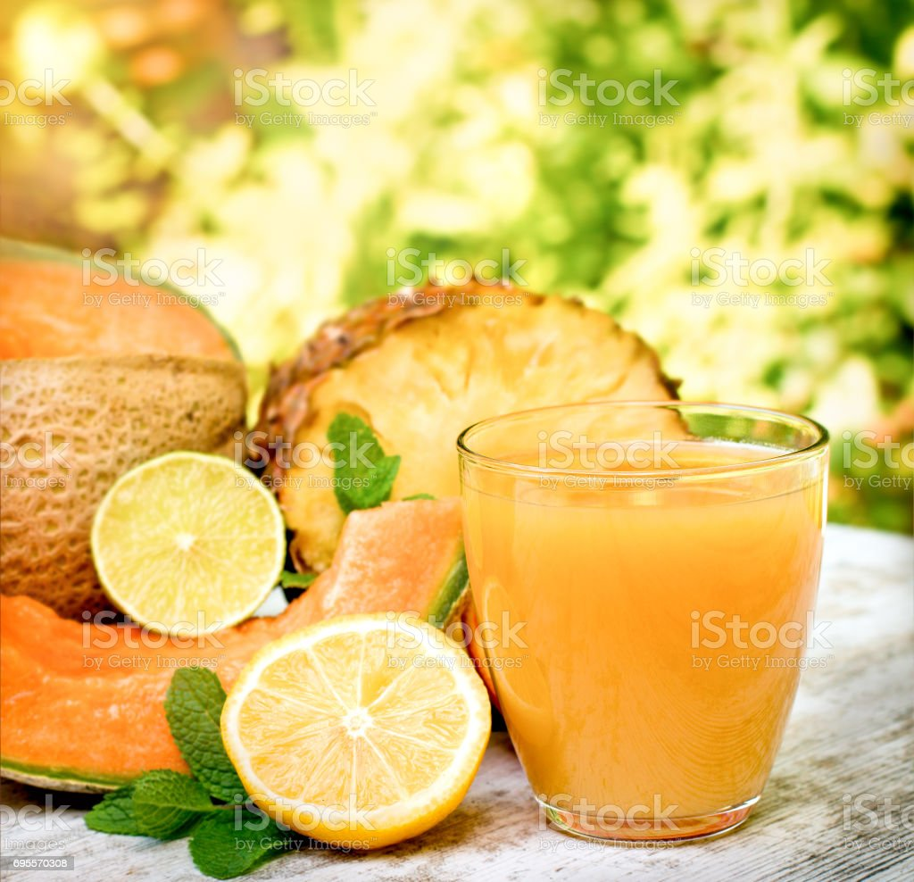 The pleasure with delicious juice in summer hot days stock photo