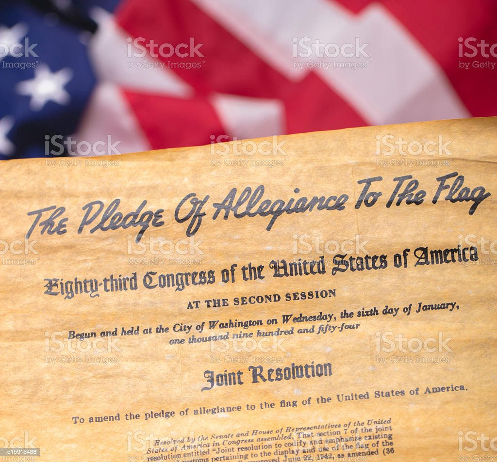The Pledge of Allegiance to the Flag stock photo