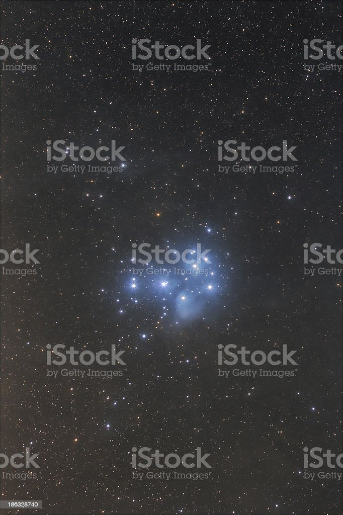 The Pleiades nebula widefield stock photo