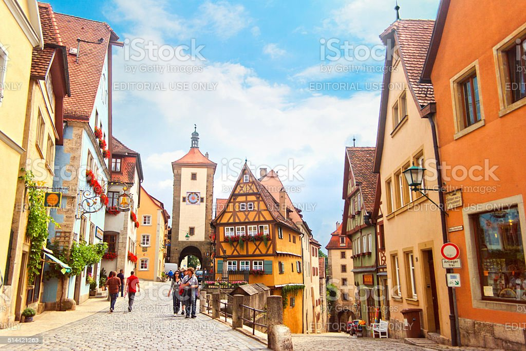 The Plonlein, Rothenburg ober der Tauber, Bavaria, Germany stock photo
