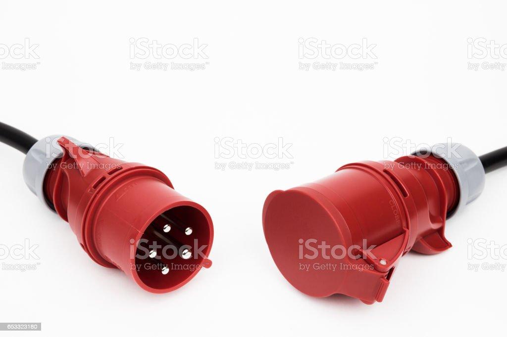 The plug and socket power three-phase stock photo