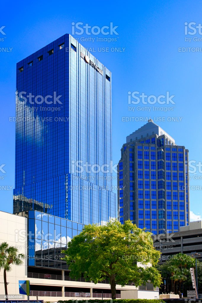 The PNC and Sun Trust Centre skyscrapers in downtown Tampa FL, USA stock photo