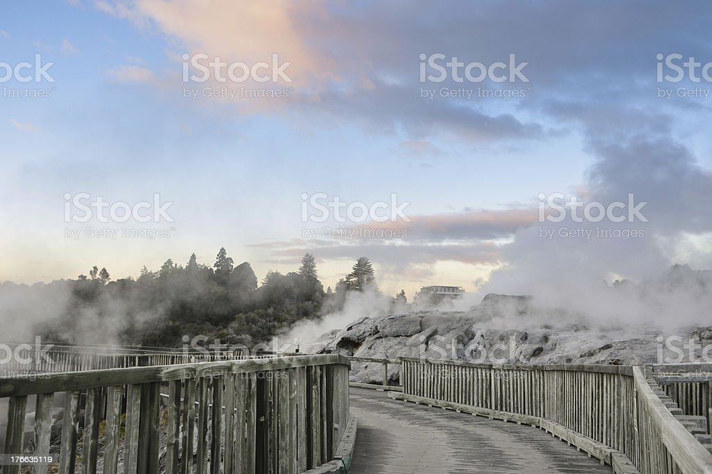 The Pohutu Geyser in New Zealand royalty-free stock photo