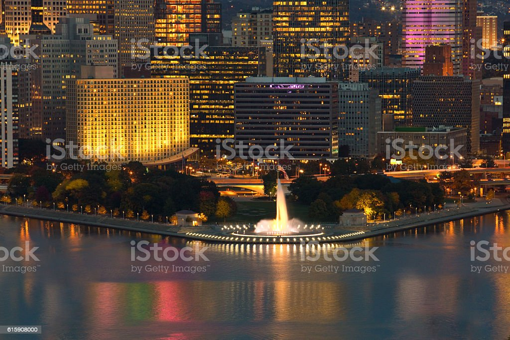 The Point In Downtown Pittsburgh At Night stock photo