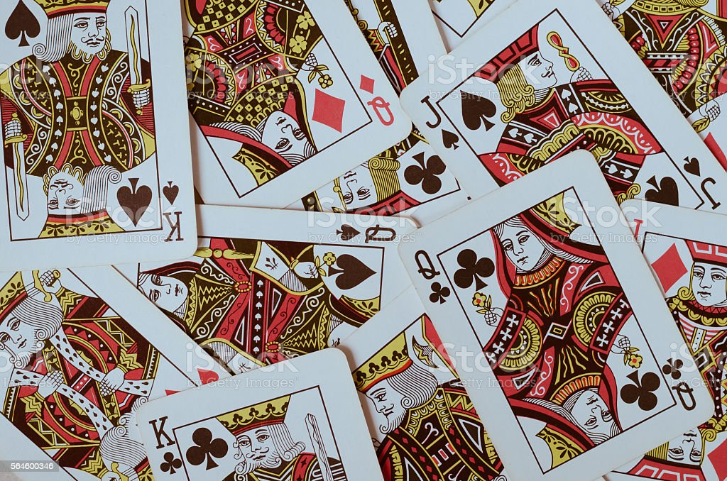 The Poker Card Suit with King, Queen and Jack Only. stock photo