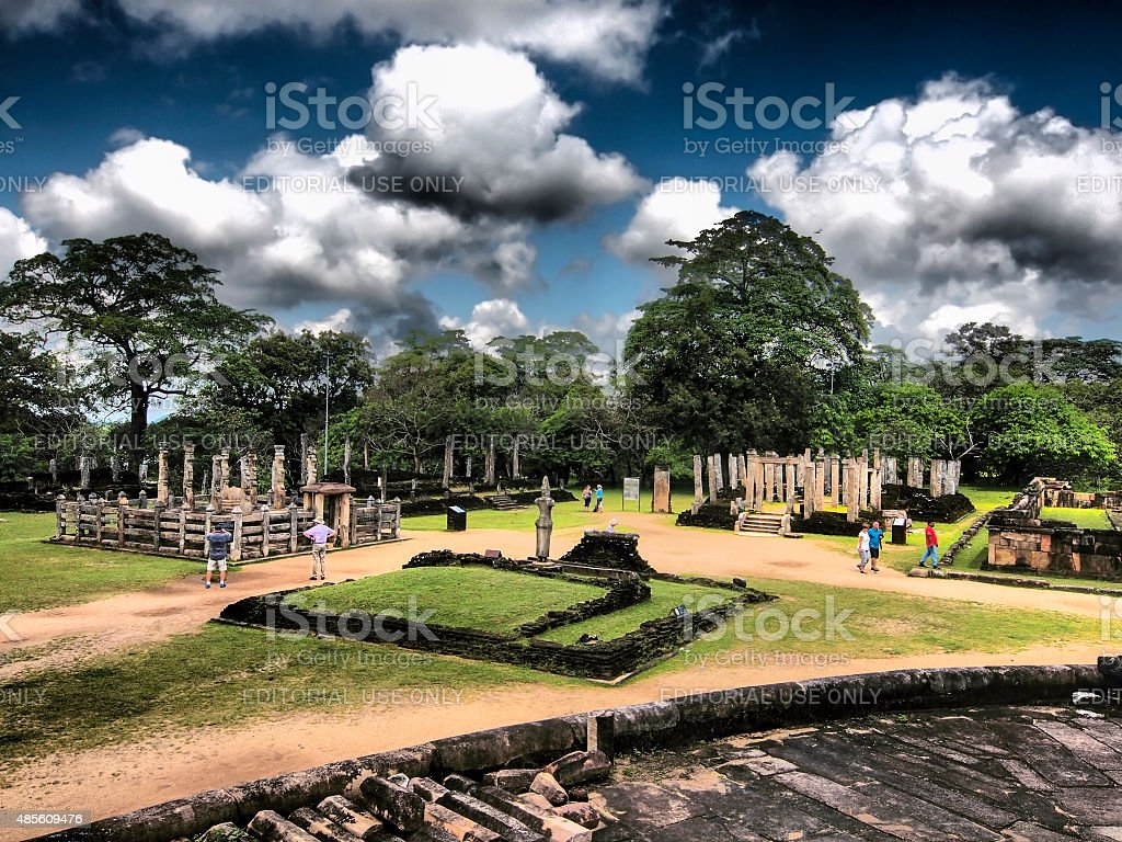 The Polonnaruwa ruins site from Polonnaruwa Vatadage, Sri Lanka stock photo