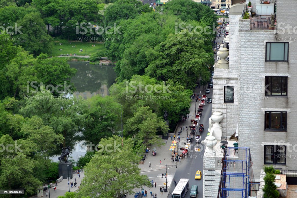 The Pond in South Central Park Viewed from Aboce stock photo