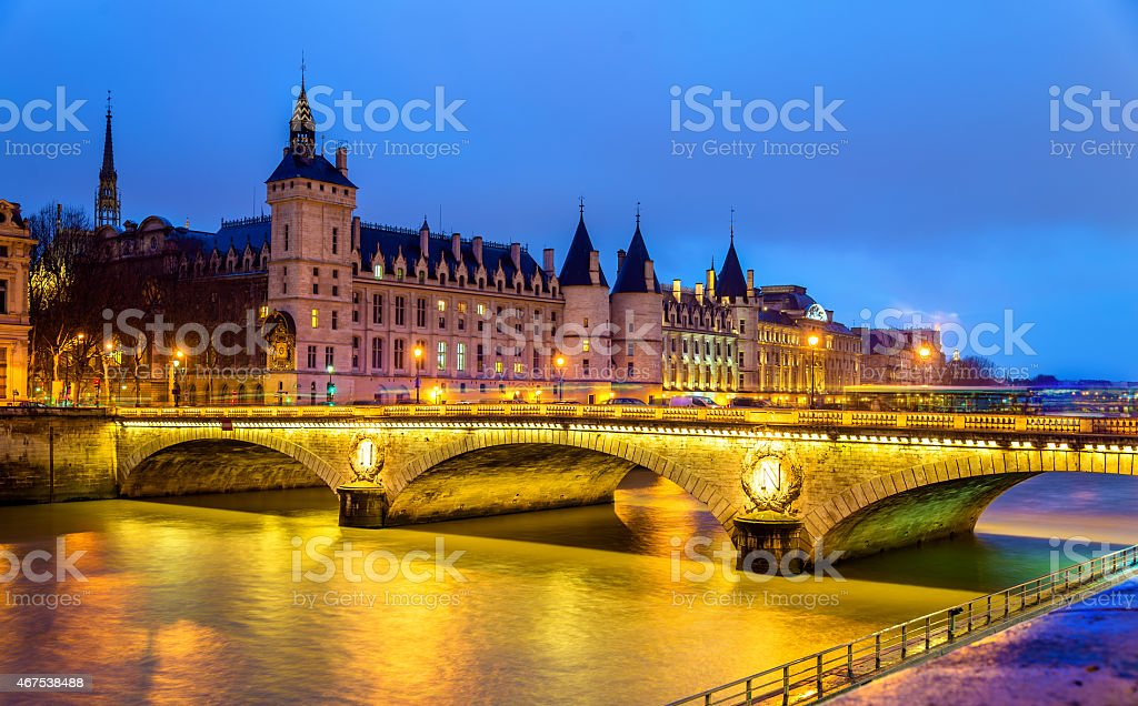 The Pont au Change and the Conciergerie in Paris stock photo