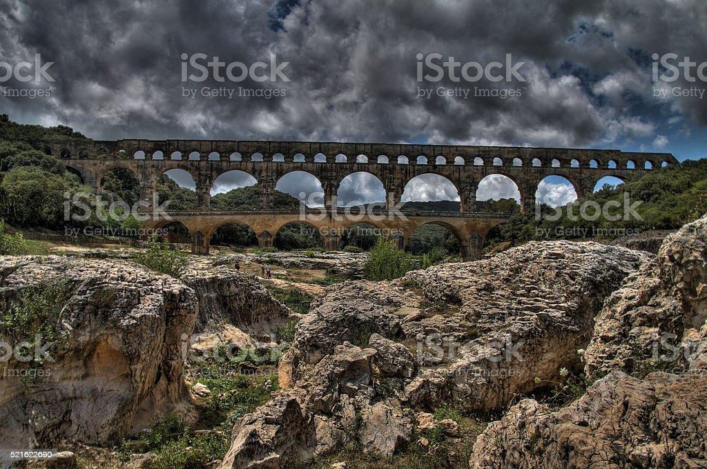 The Pont du Gard, HDR image stock photo