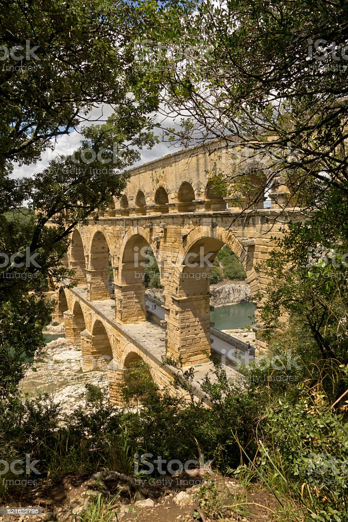 The Pont du Gard in France, view on the side stock photo