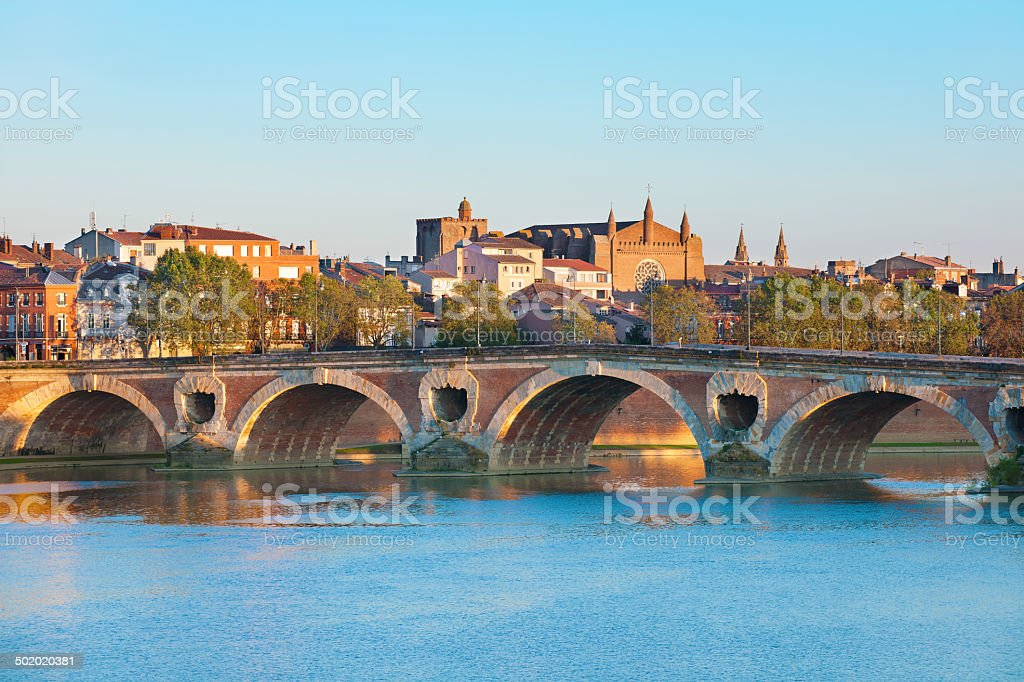 The Pont Neuf in Toulouse in summer stock photo