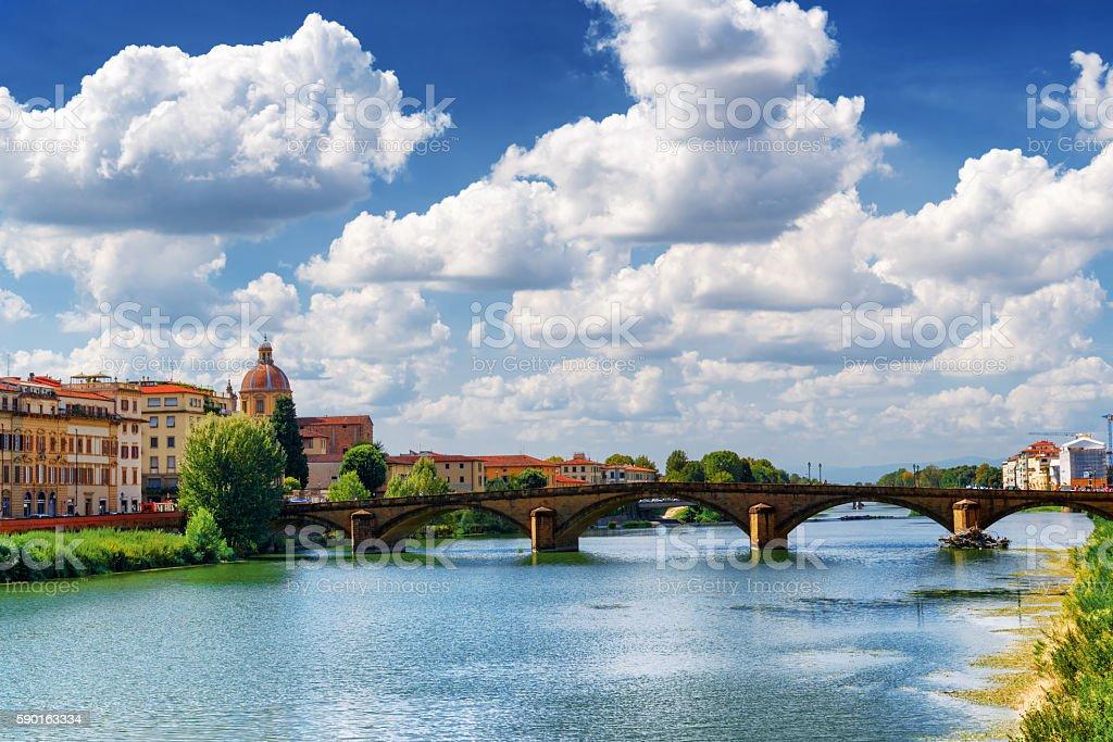 The Ponte alla Carraia over the Arno River, Florence, Italy stock photo