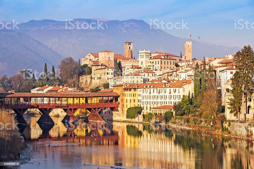 The Ponte Vecchio in Bassano del Grappa stock photo