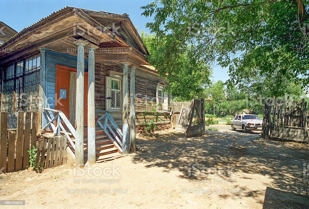 The porch of  old Russian house. stock photo
