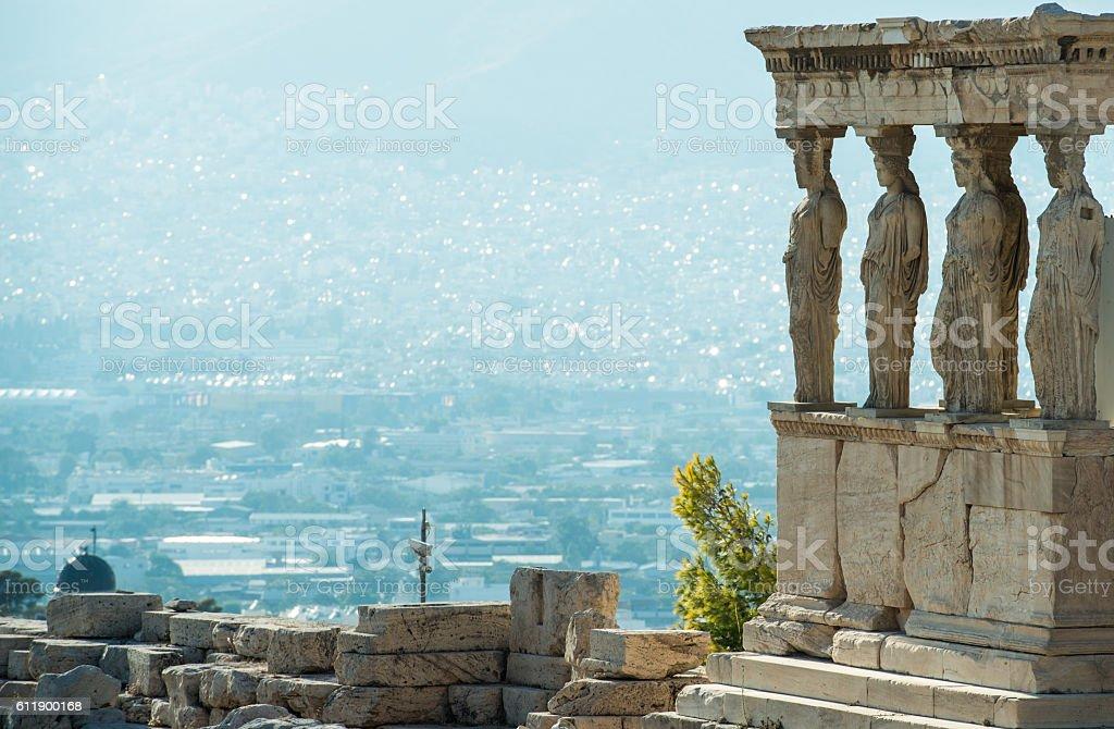 The Porch of the Caryatids, Erechtheion temple, Acropolis of Athens, Greece stock photo