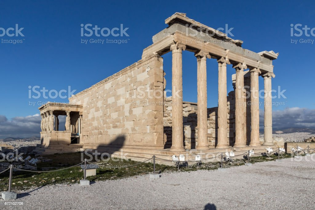 The Porch of the Caryatids in The Erechtheion an ancient Greek temple on the north side of the Acropolis of Athens, Greece stock photo