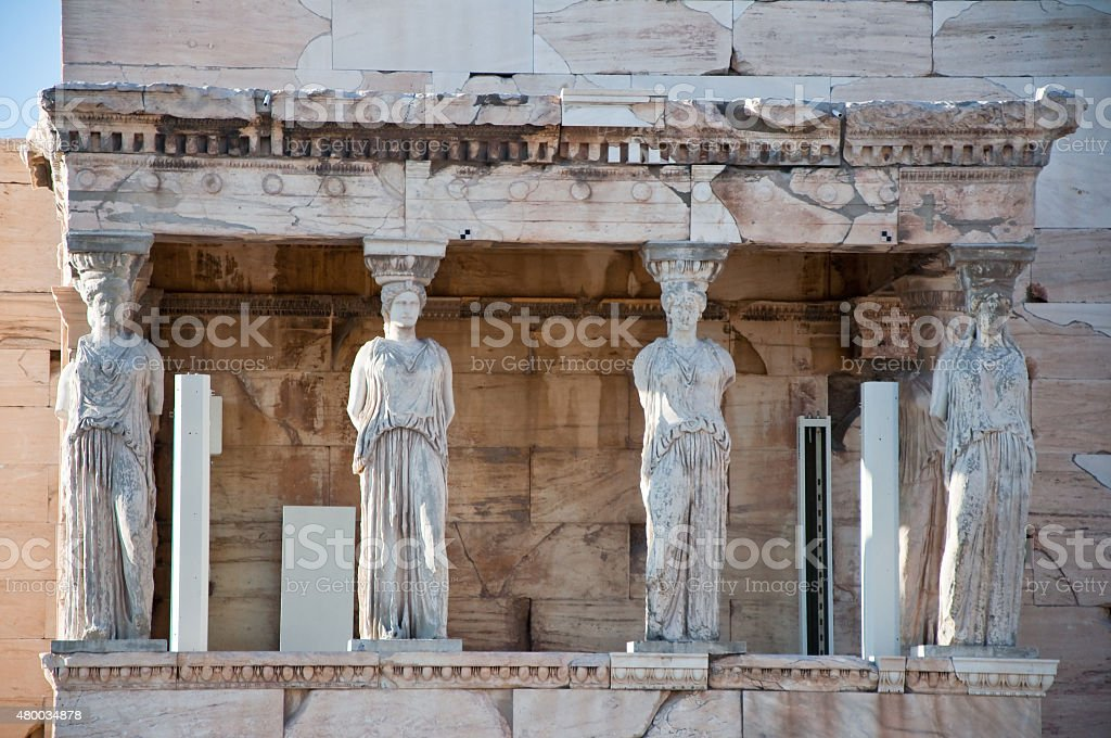 The Porch of the Caryatids on the Acropolis of Athens. stock photo
