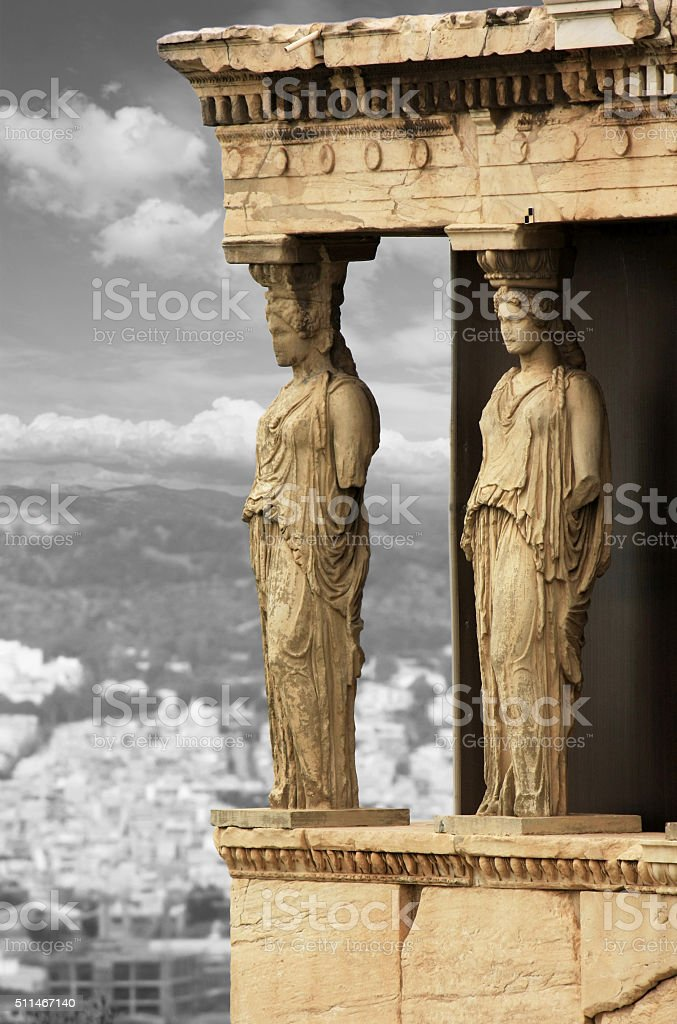 The Porch of the Caryatids,Erechtheion detail stock photo