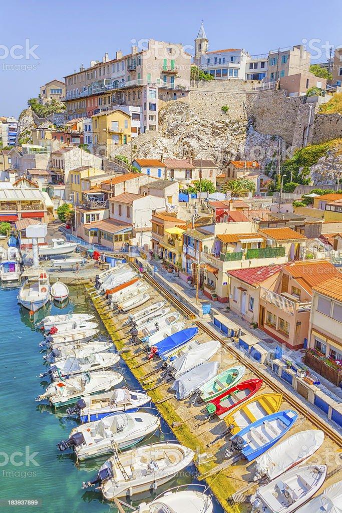 The port in Vallon des Auffes, Marseilles stock photo