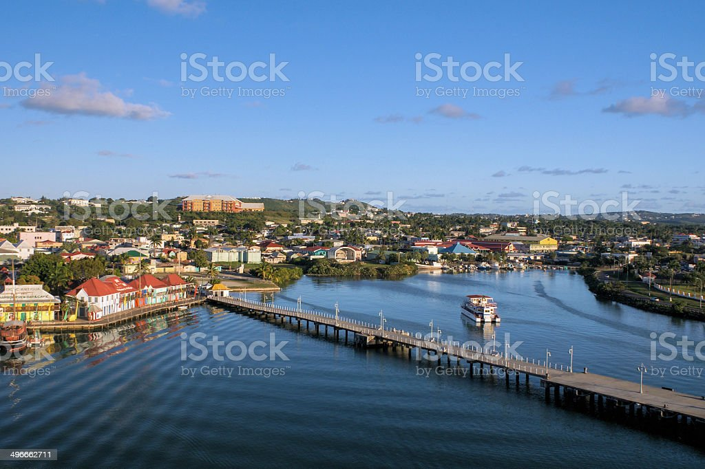 The Port of Antigua Harbor at sunset stock photo