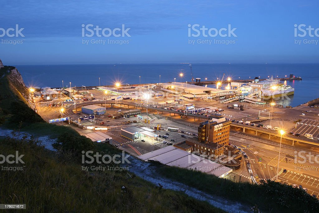The port of dover at night royalty-free stock photo
