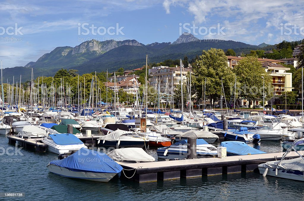 The port of Evian-les-bains in France stock photo