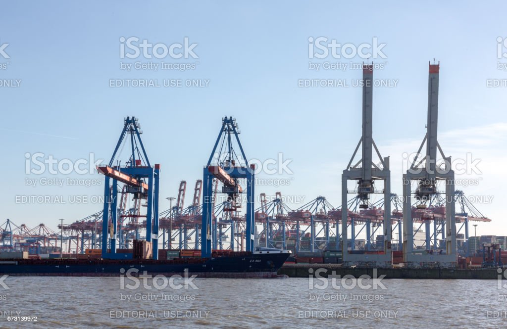 The Port of Hamburg, known as  'Gateway to the World' stock photo