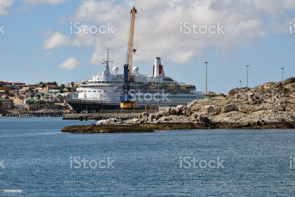 The port of Luderitz in the early morning stock photo